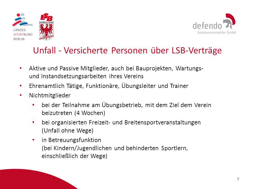 Unfall - Versicherte Personen über LSB-Verträge