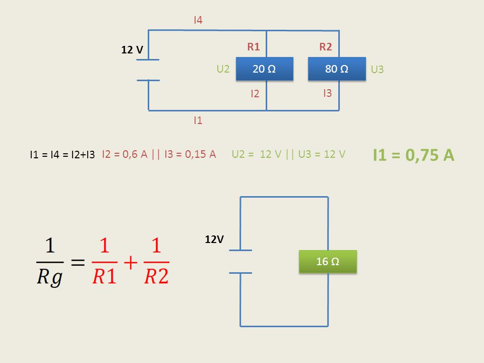 I1 = 0,75 A I4 12 V R1 R2 U2 20 Ω 80 Ω U3 I2 I3 I1 I1 = I4 = I2+I3