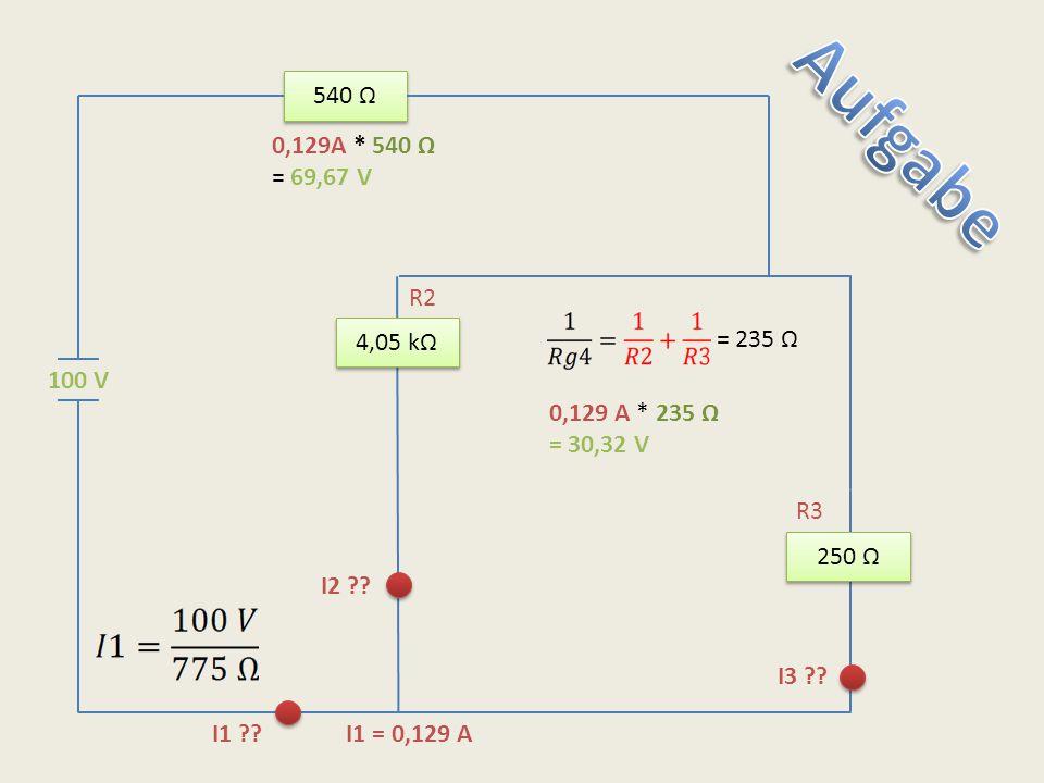 540 Ω Aufgabe. 0,129A * 540 Ω. = 69,67 V. R2. 4,05 kΩ. = 235 Ω. 100 V. 0,129 A * 235 Ω. = 30,32 V.