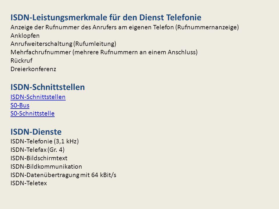 ISDN-Leistungsmerkmale für den Dienst Telefonie