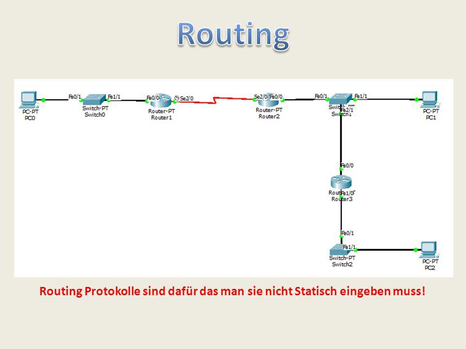Routing Routing Protokolle sind dafür das man sie nicht Statisch eingeben muss!