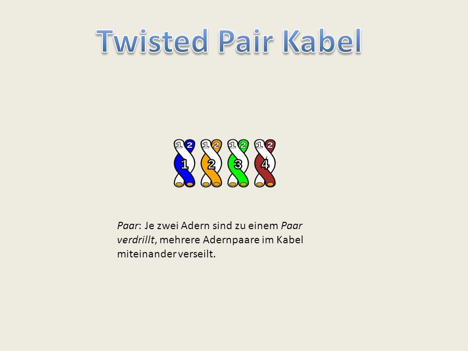 Twisted Pair Kabel Paar: Je zwei Adern sind zu einem Paar verdrillt, mehrere Adernpaare im Kabel miteinander verseilt.