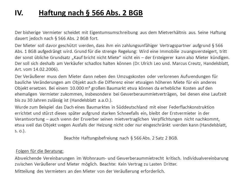 IV. Haftung nach § 566 Abs. 2 BGB