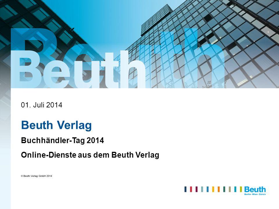Titel Buchhändler-Tag 2014 Online-Dienste aus dem Beuth Verlag