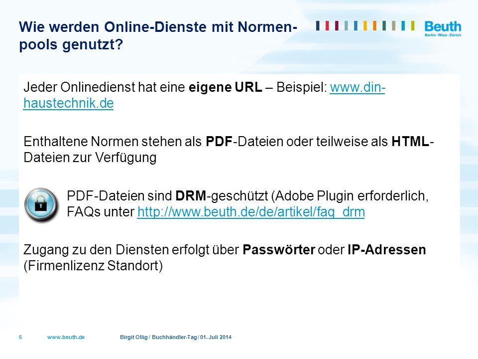 Wie werden Online-Dienste mit Normen- pools genutzt