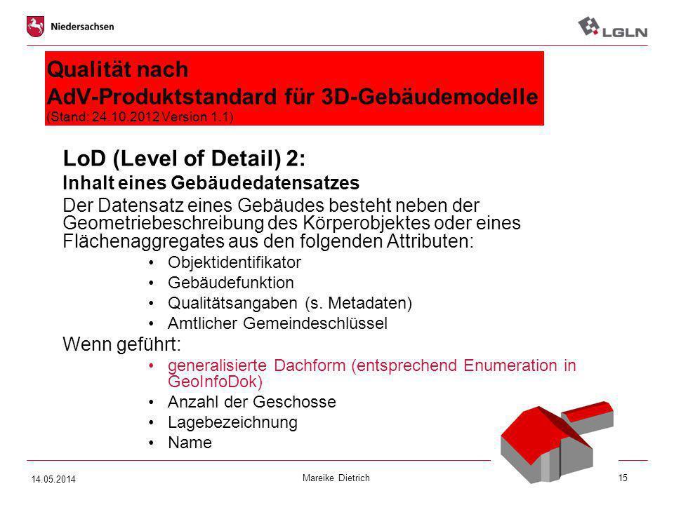 Qualität nach AdV-Produktstandard für 3D-Gebäudemodelle (Stand: 24. 10