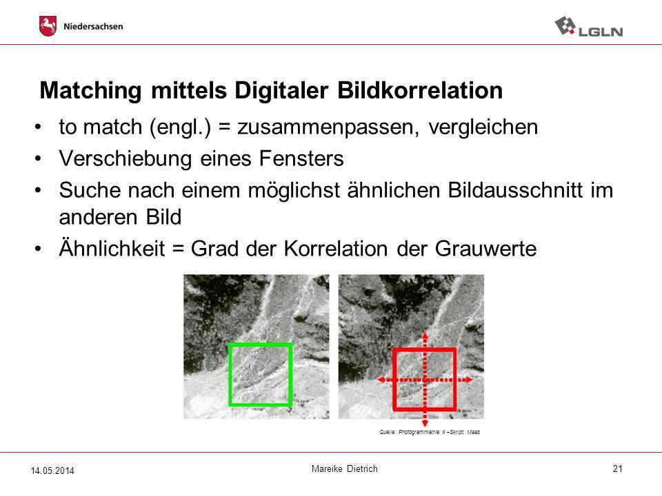 Matching mittels Digitaler Bildkorrelation