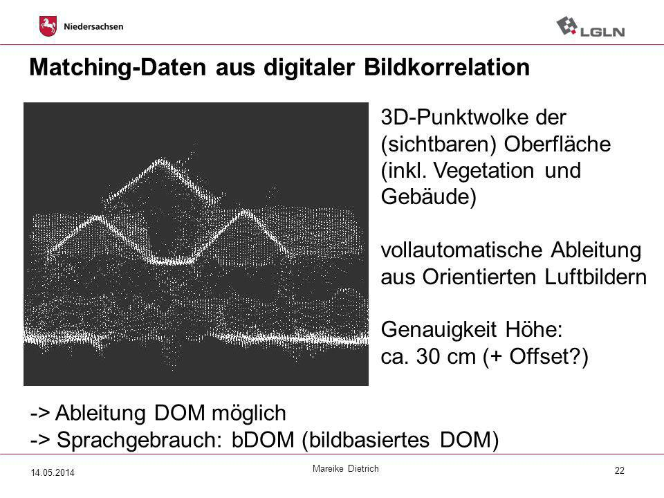 Matching-Daten aus digitaler Bildkorrelation