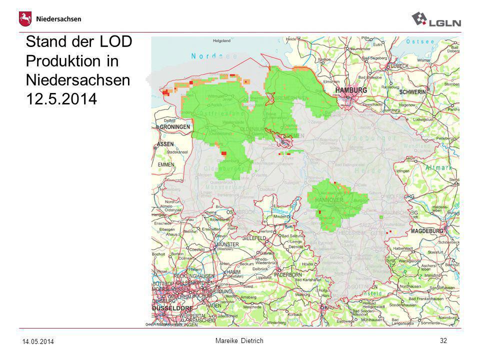 Stand der LOD Produktion in Niedersachsen 12.5.2014