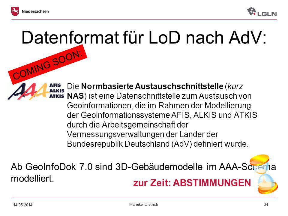 Datenformat für LoD nach AdV: