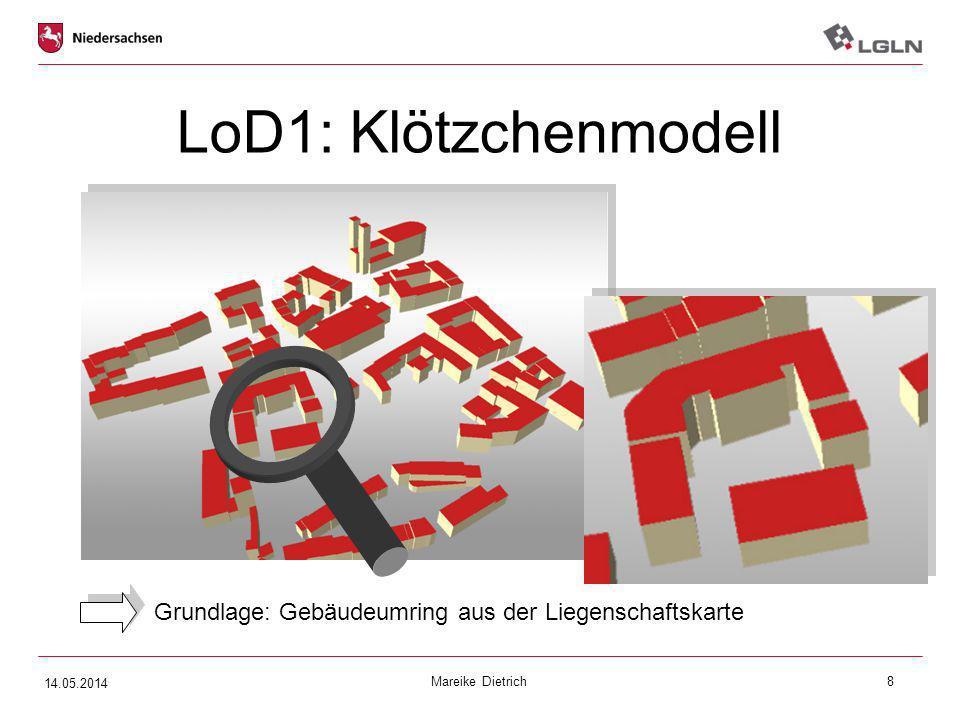 LoD1: Klötzchenmodell LoD 1: Klötzchenmodell. Gebäudeblock (Grundfläche hochgezogen) auf Firsthöhe -> somit OHNE Dachstruktur.