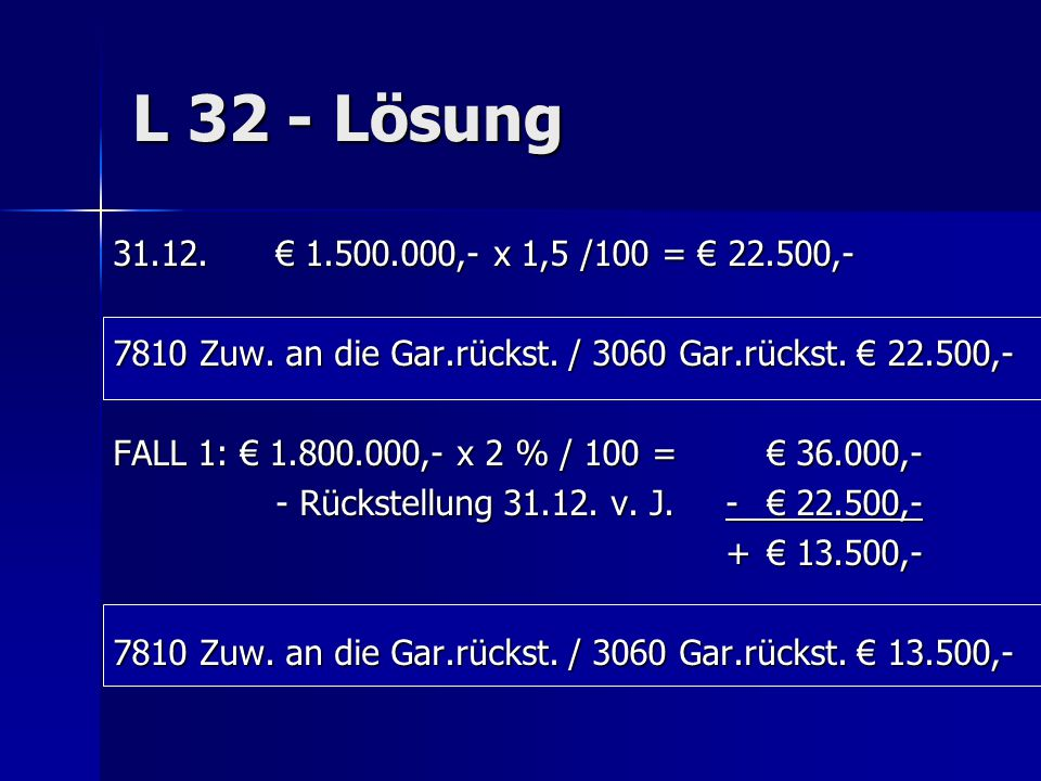 L 32 - Lösung 31.12. € 1.500.000,- x 1,5 /100 = € 22.500,- 7810 Zuw. an die Gar.rückst. / 3060 Gar.rückst. € 22.500,-