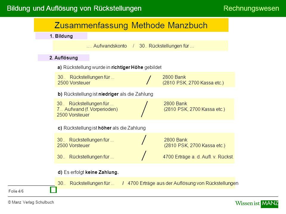ü Zusammenfassung Methode Manzbuch 1. Bildung
