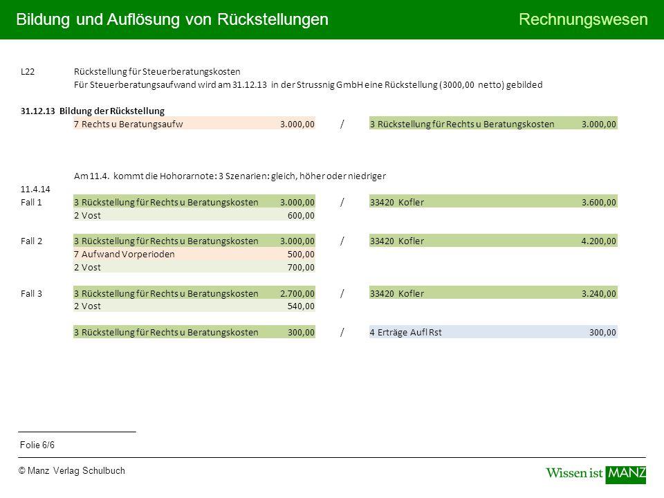 L22 Rückstellung für Steuerberatungskosten.
