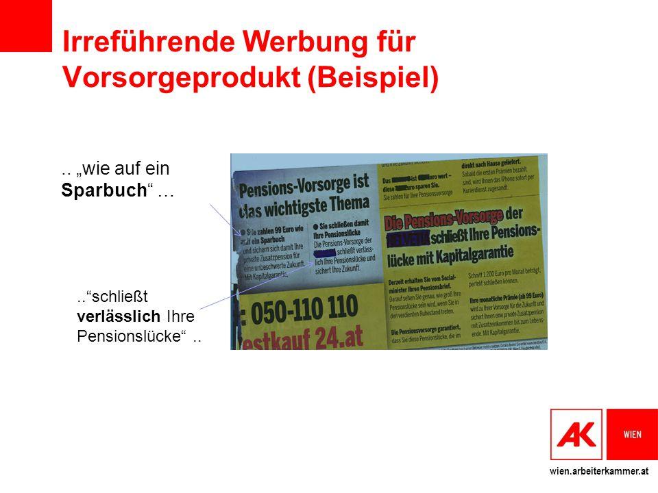 Irreführende Werbung für Vorsorgeprodukt (Beispiel)