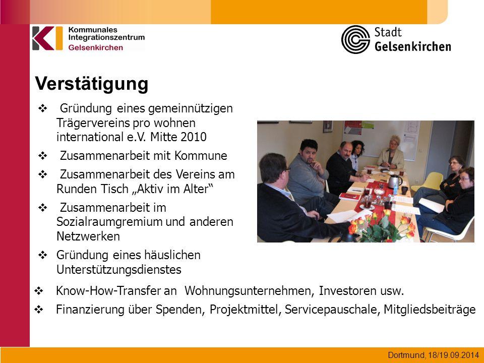 Verstätigung Gründung eines gemeinnützigen Trägervereins pro wohnen international e.V. Mitte 2010.