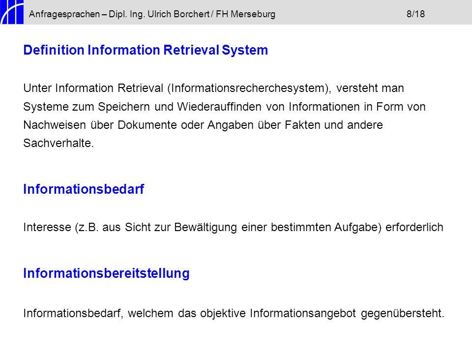 Definition Information Retrieval System