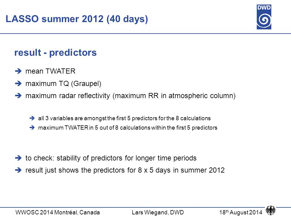 LASSO summer 2012 (40 days) result - predictors mean TWATER