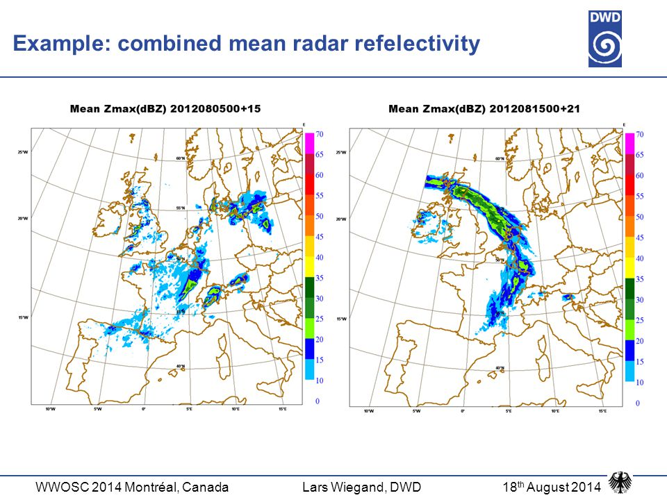 Example: combined mean radar refelectivity