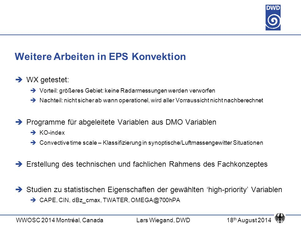 Weitere Arbeiten in EPS Konvektion