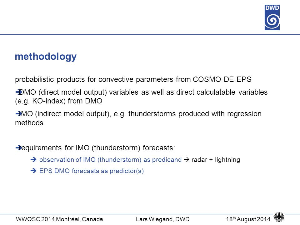 methodology probabilistic products for convective parameters from COSMO-DE-EPS.