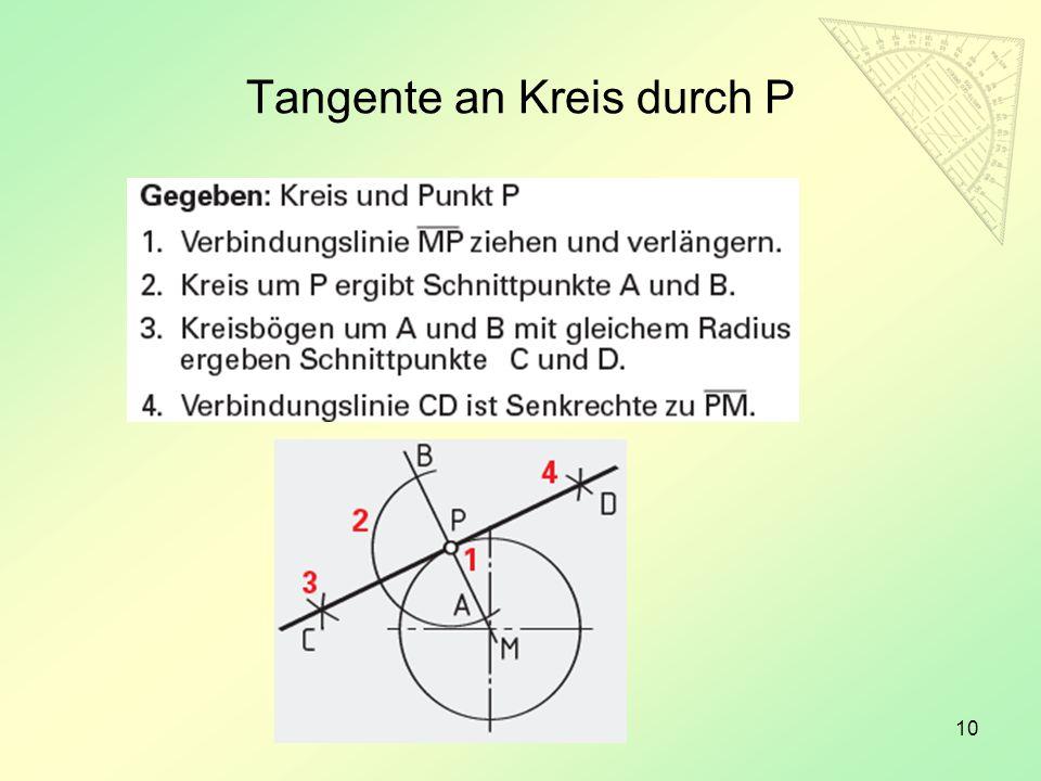 Tangente an Kreis durch P