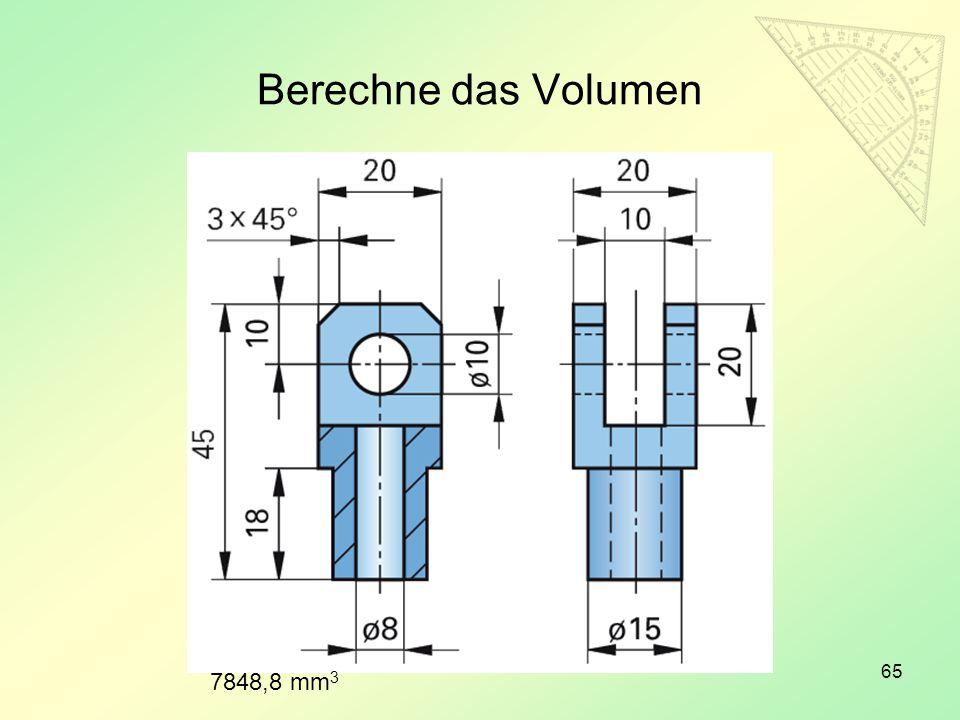 Berechne das Volumen 7848,8 mm3