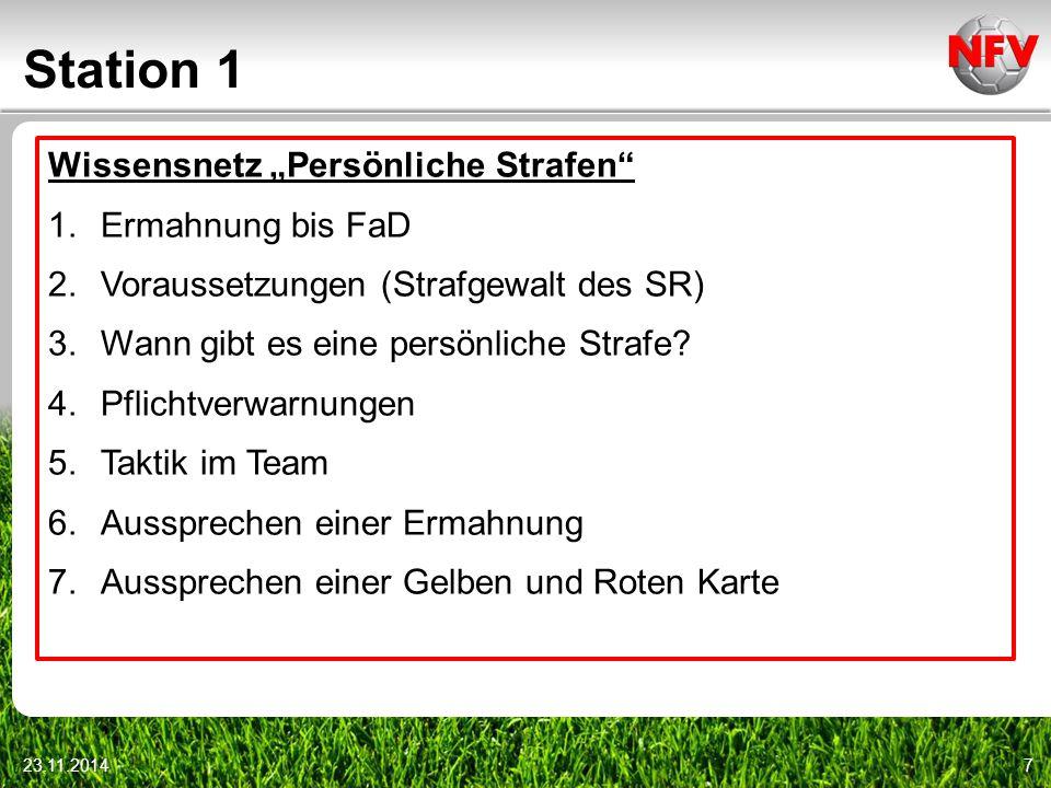 """Station 1 Wissensnetz """"Persönliche Strafen Ermahnung bis FaD"""
