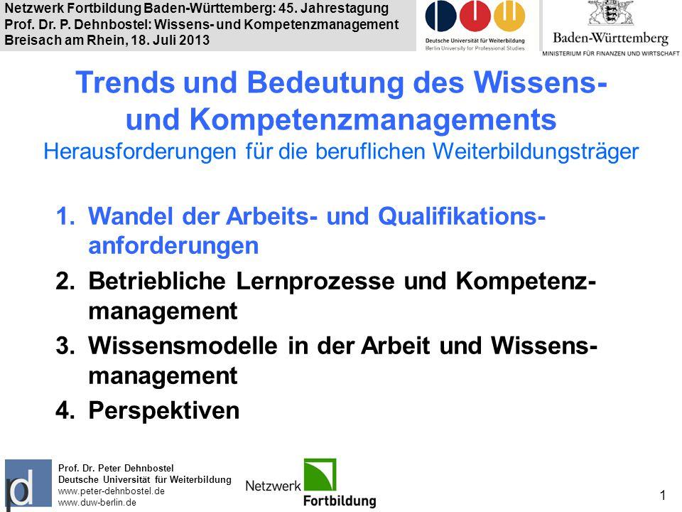 Trends und Bedeutung des Wissens- und Kompetenzmanagements Herausforderungen für die beruflichen Weiterbildungsträger