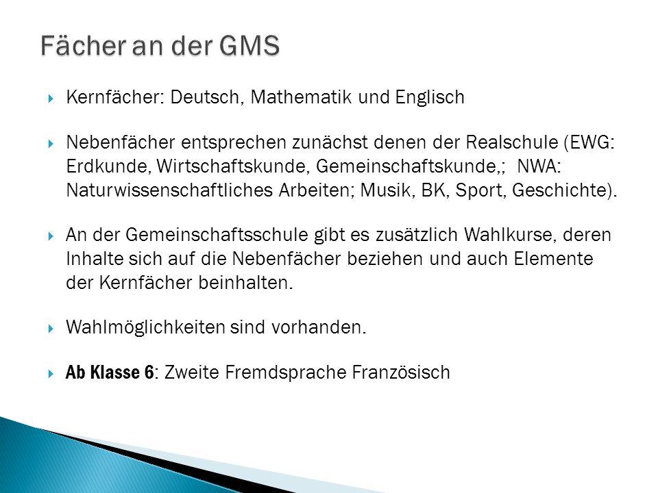 Fächer an der GMS Kernfächer: Deutsch, Mathematik und Englisch