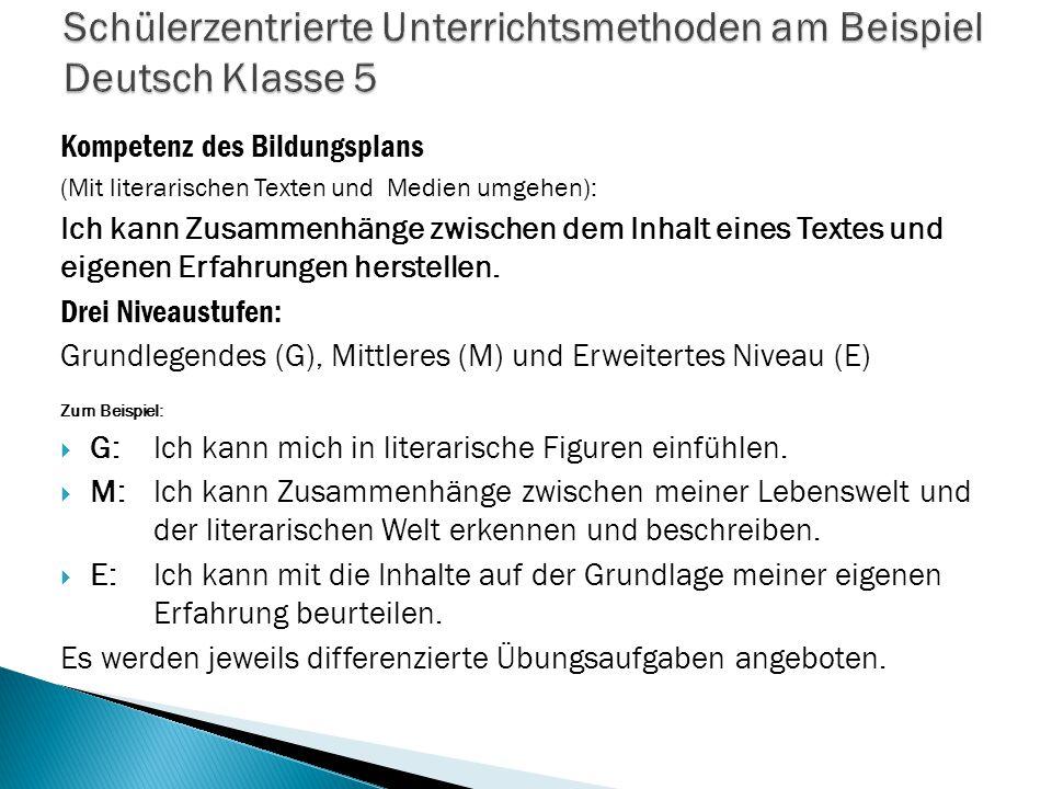 Schülerzentrierte Unterrichtsmethoden am Beispiel Deutsch Klasse 5