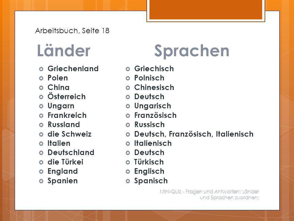 Länder Sprachen Griechenland Polen China Österreich Ungarn Frankreich