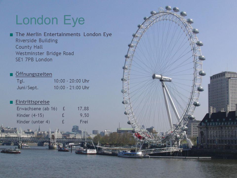 London Eye The Merlin Entertainments London Eye Riverside Building County Hall Westminster Bridge Road SE1 7PB London.
