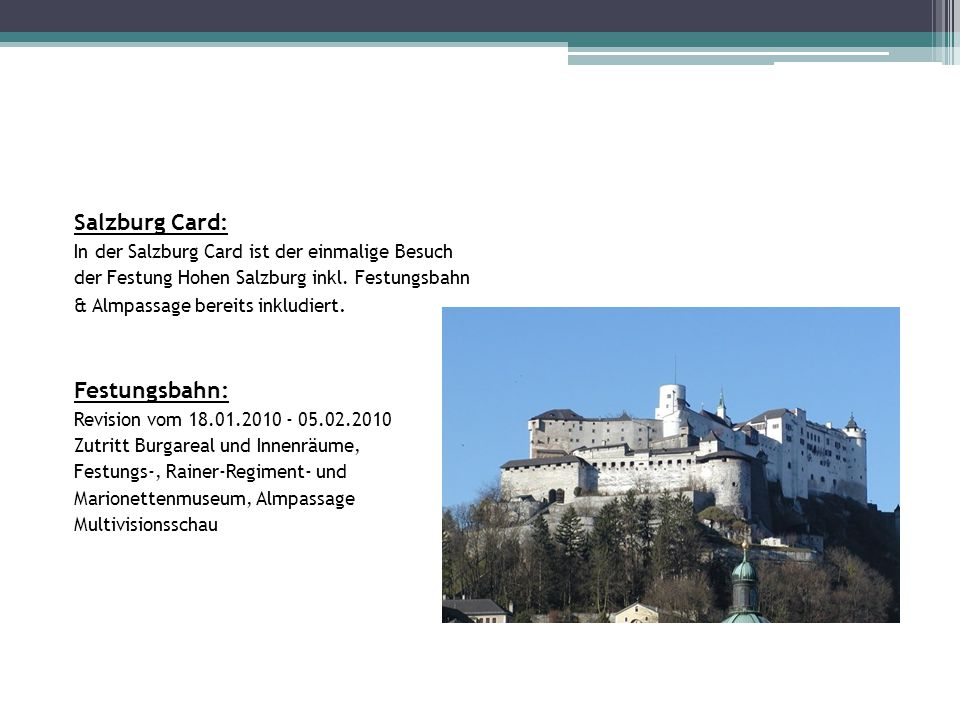 Salzburg Card: Festungsbahn: