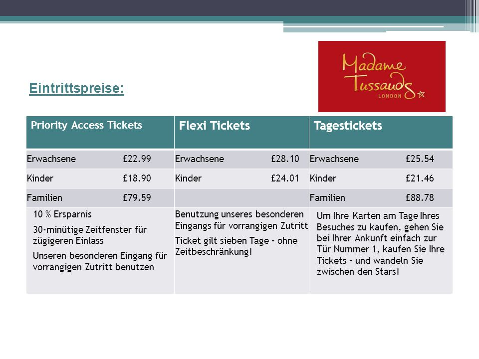 Eintrittspreise: Flexi Tickets Tagestickets Priority Access Tickets