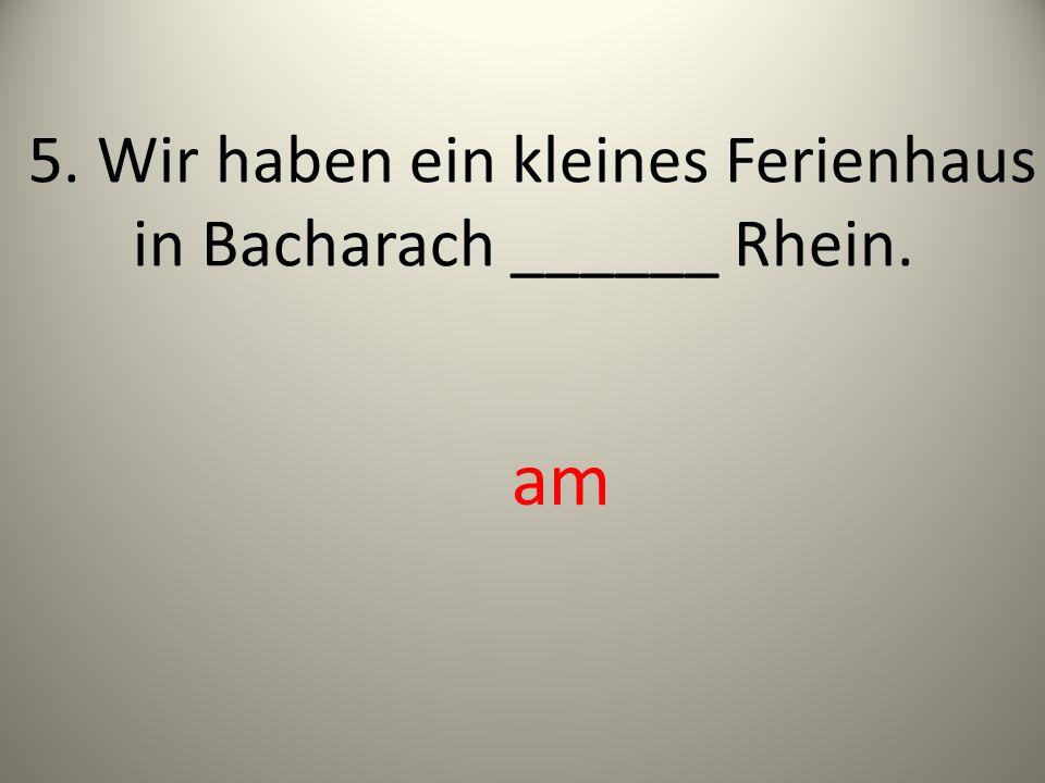 5. Wir haben ein kleines Ferienhaus in Bacharach ______ Rhein.