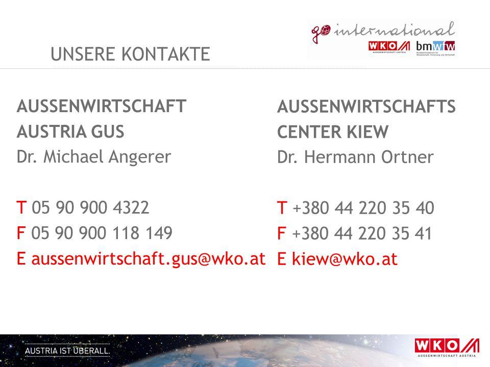 Unsere kontakte AUSSENWIRTSCHAFT AUSTRIA GUS Dr. Michael Angerer