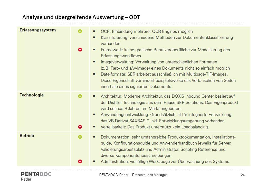 Analyse und übergreifende Auswertung – ODT