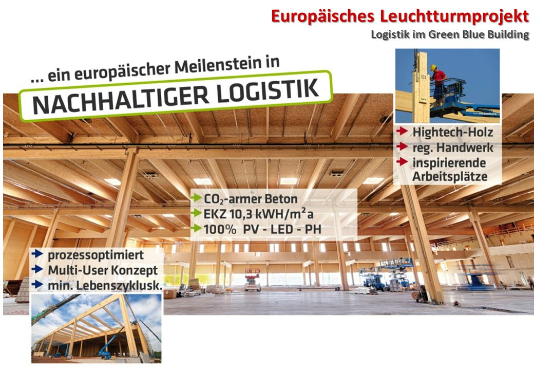 Europäisches Leuchtturmprojekt Logistik im Green Blue Building