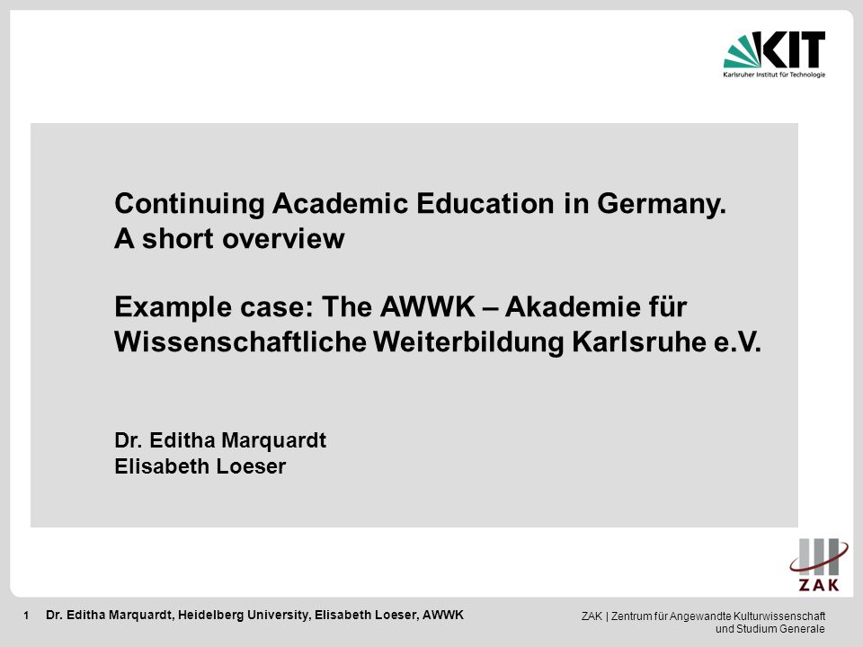 Continuing Academic Education in Germany. A short overview