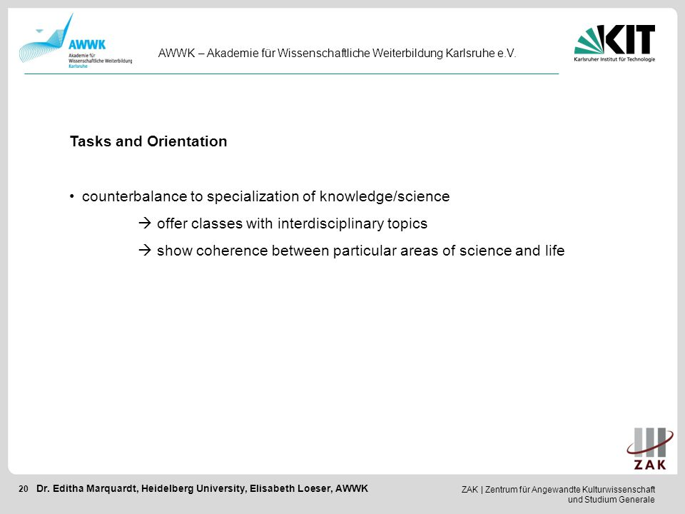 counterbalance to specialization of knowledge/science