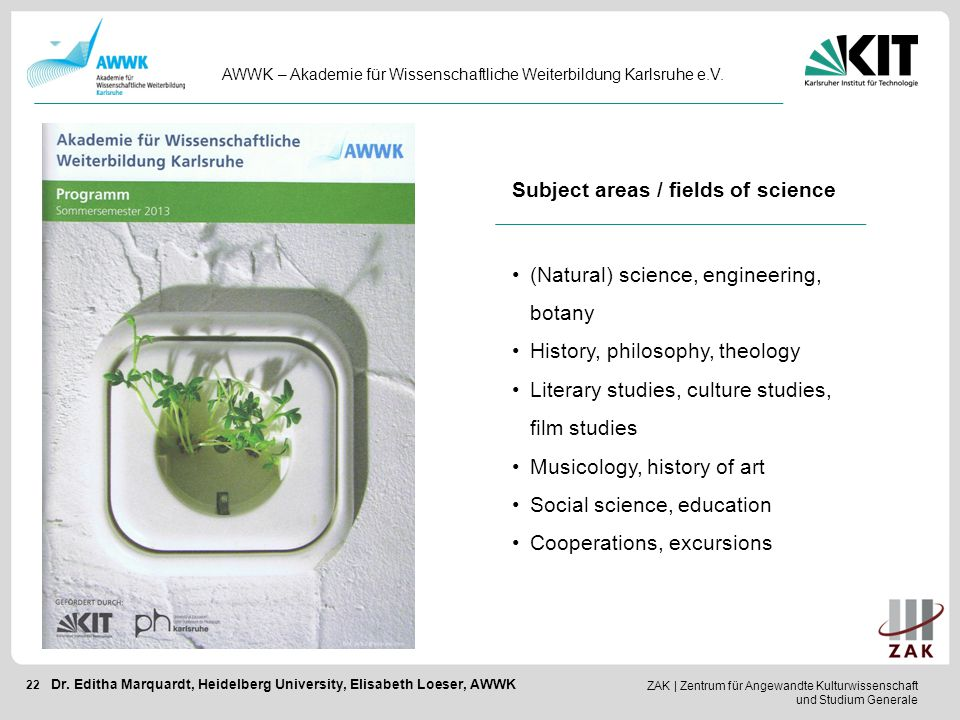 Subject areas / fields of science