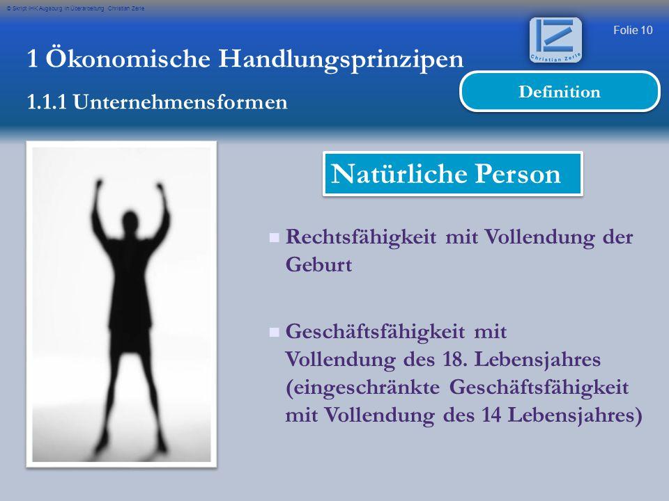 Natürliche Person 1 Ökonomische Handlungsprinzipen