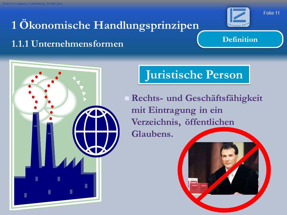 Juristische Person 1 Ökonomische Handlungsprinzipen