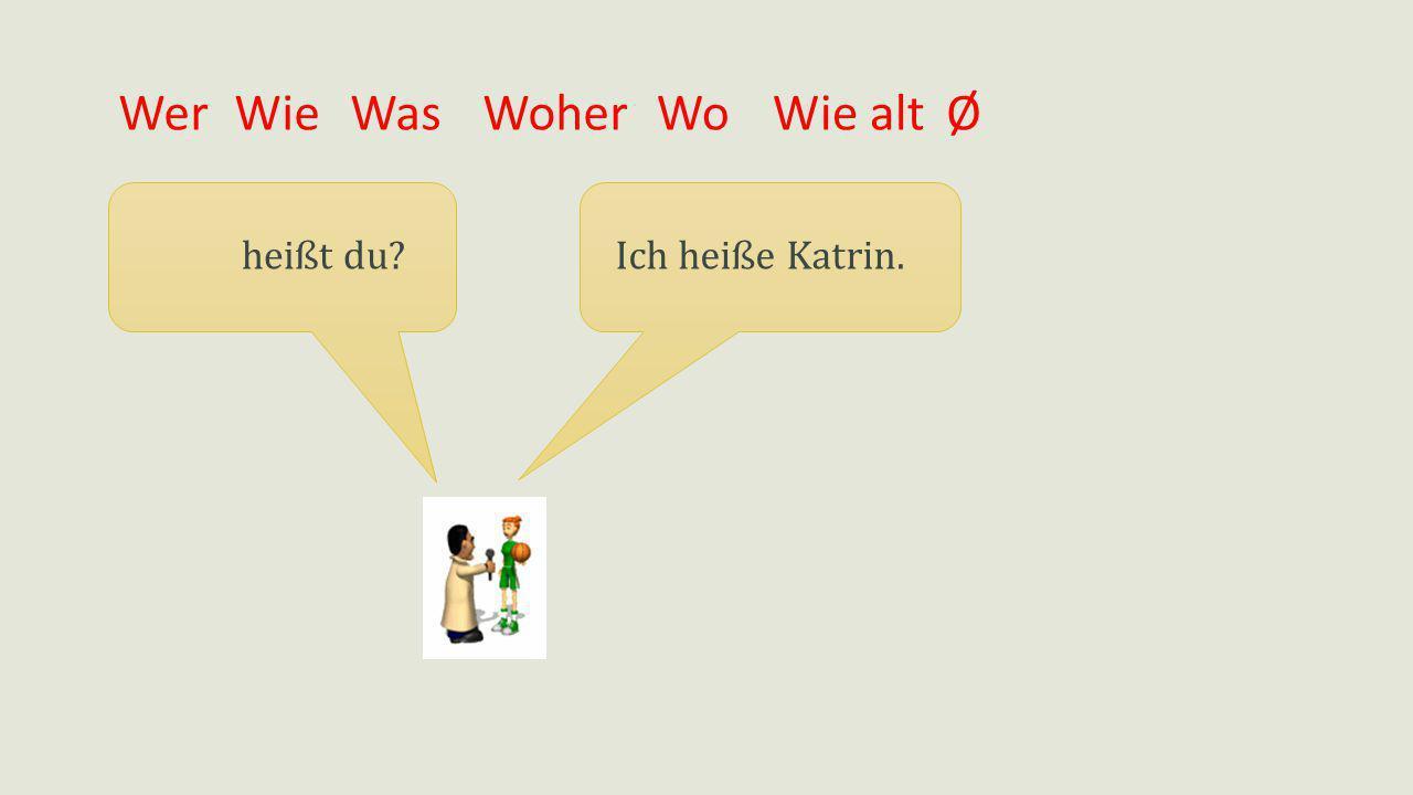 Wer Wie Was Woher Wo Wie alt Ø heißt du Ich heiße Katrin.