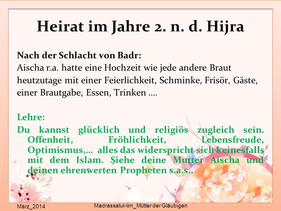 Heirat im Jahre 2. n. d. Hijra