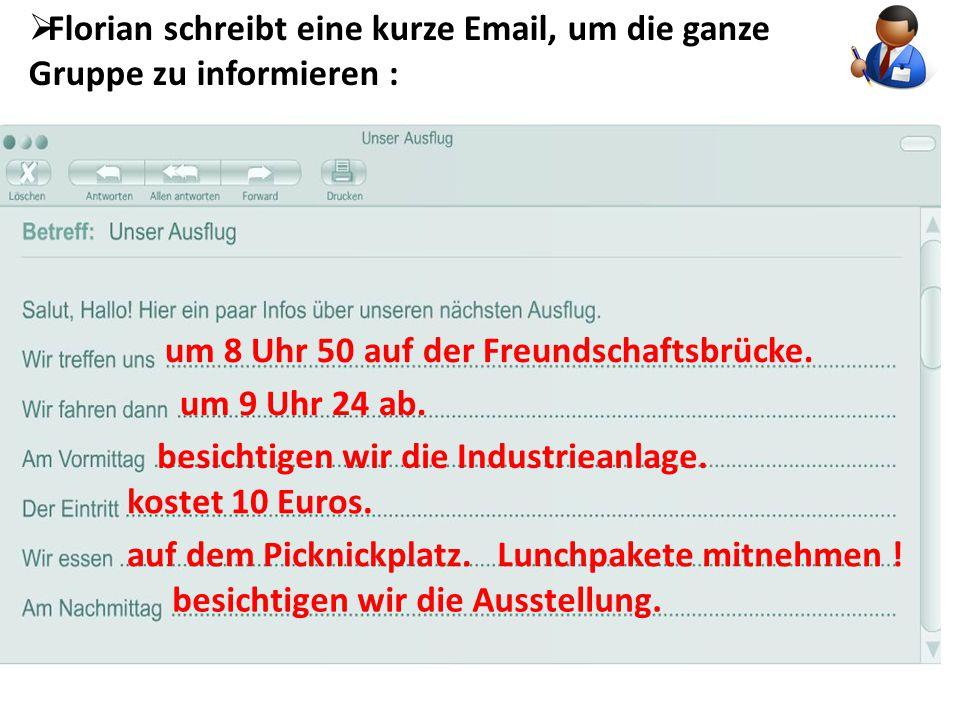 Florian schreibt eine kurze Email, um die ganze