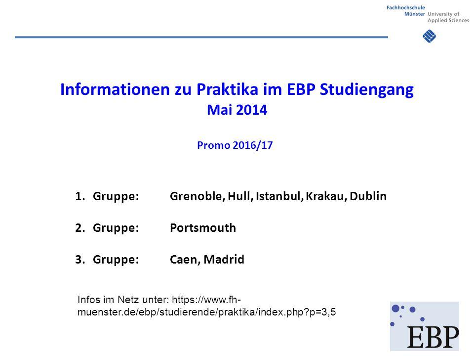 Informationen zu Praktika im EBP Studiengang