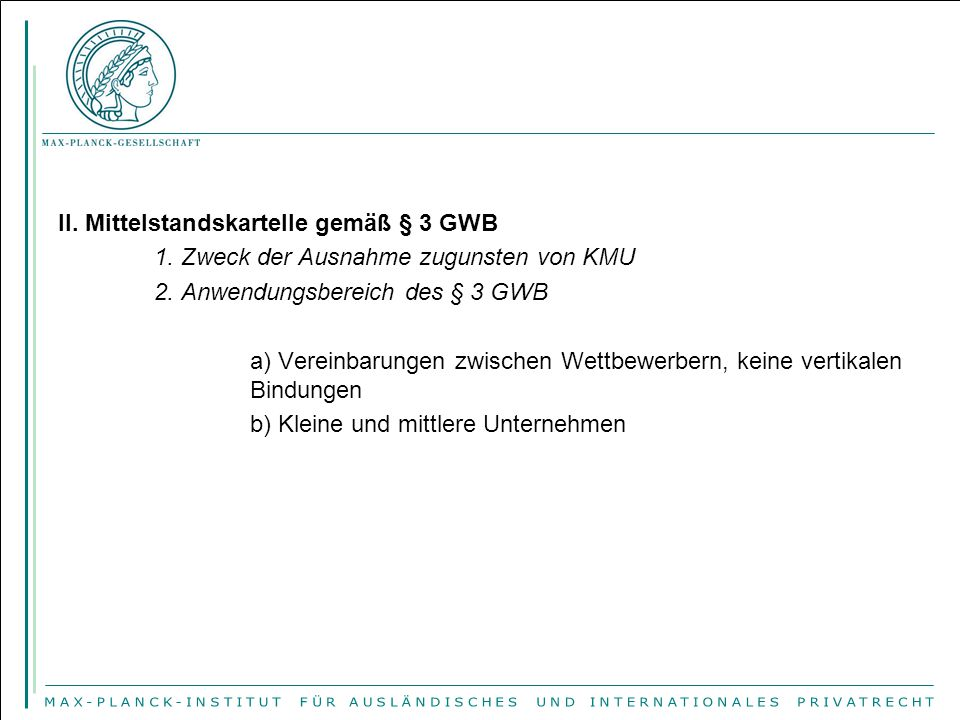 II. Mittelstandskartelle gemäß § 3 GWB 1