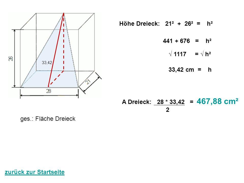 Höhe Dreieck: 21² + 26² = h² 441 + 676 = h² √ 1117 = √ h² 33,42 cm = h